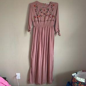 Jodifl Maxi Dress Mauve Rose Embroidery Size Small